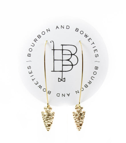 Bourbon and Boweties Hoop Arrow Earrings Gold