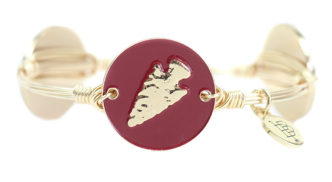 Bourbon and Boweties Garnet Coin Arrow Head Coin Bangle