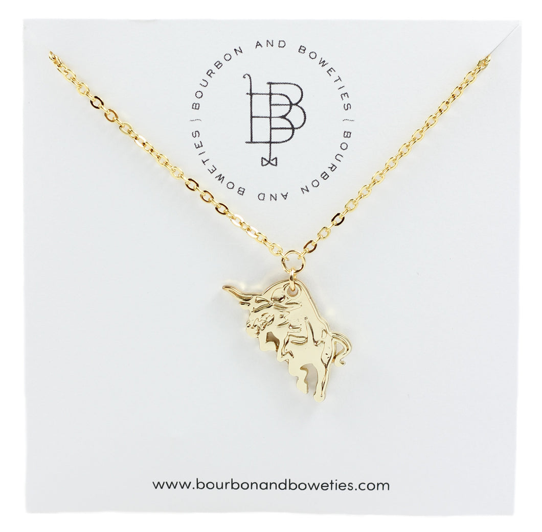Bourbon and Boweties Bull Necklace