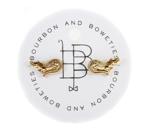 Bourbon and Boweties Gator Stud Earring Gold