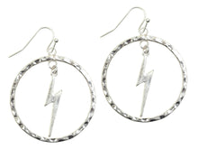 Load image into Gallery viewer, Bourbon and Boweties Lightning Hoop Earrings Silver