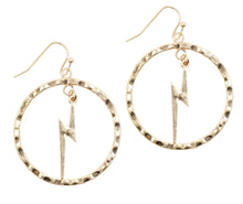 Load image into Gallery viewer, Bourbon and Boweties Lightning Hoop Earrings Gold