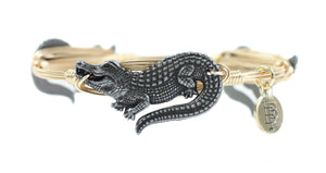 Bourbon and Boweties Gator Bangle Pewter/Gold