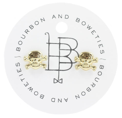 Bourbon and Boweties Skull Stud Earrings