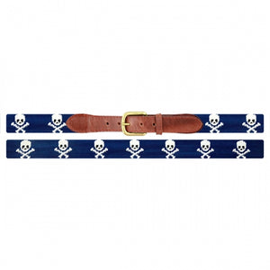 Smathers and Branson Jolly Roger Needlepoint Belt Blue 2
