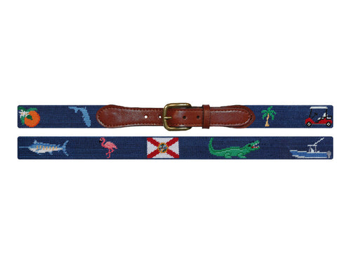 Smathers and Branson Needlepoint Florida Life Belt in Classic Navy