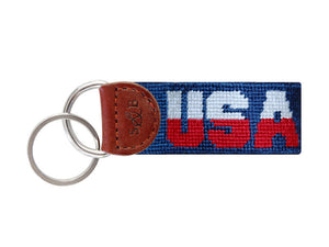 Smathers and Branson USA Needlepoint Key Fob Navy