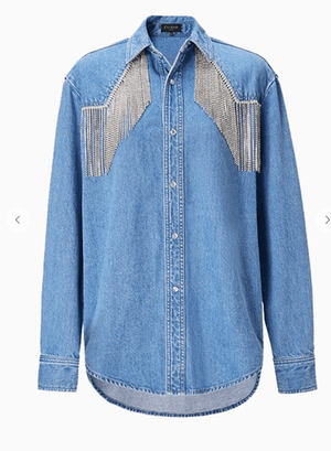 Pop Star Bling Denim Button Up