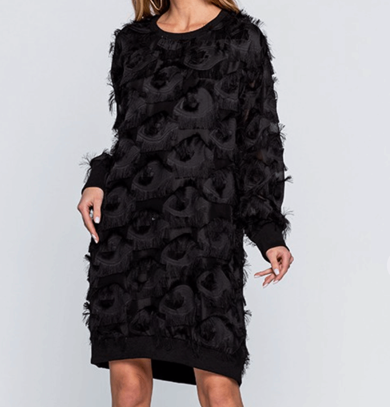 Feathered Fringe Long Sleeve Mini Dress