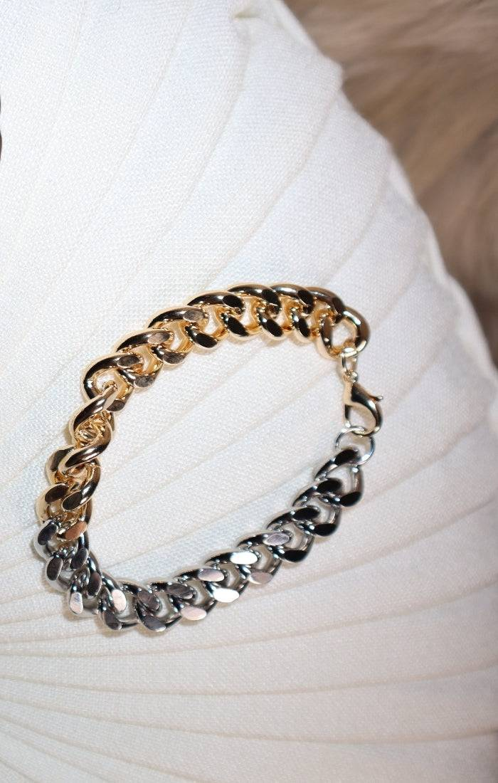 Gold and Silver Face Bracelet