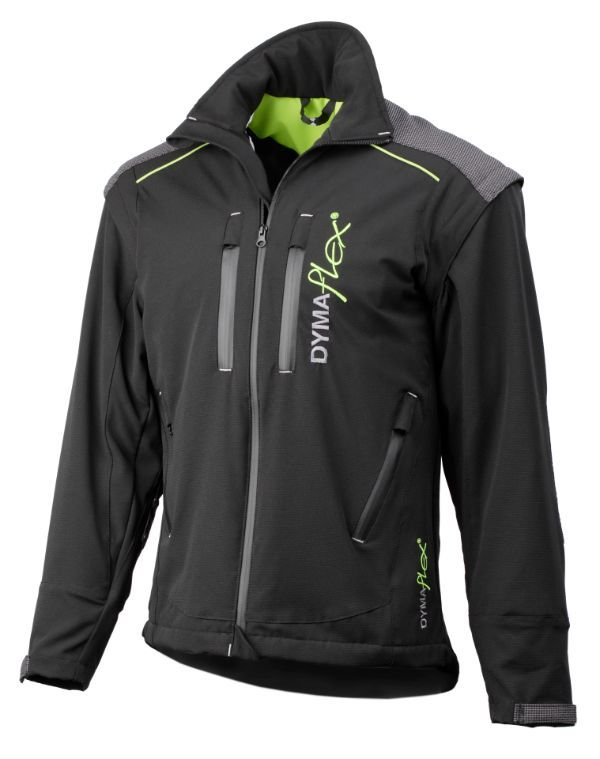 Side view of Dymaflex Cut Resistant Jacket in black