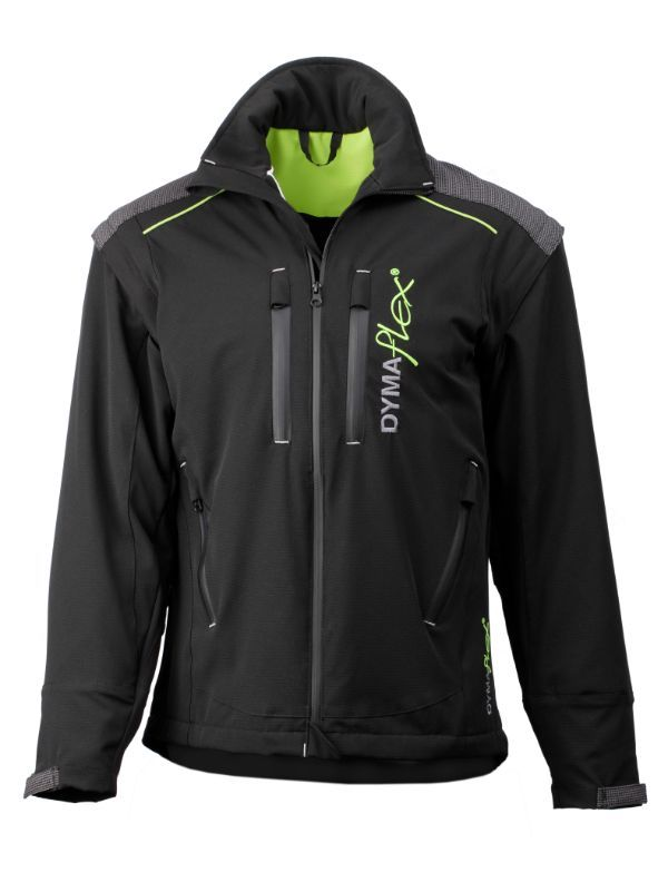 Front view of Dymaflex Cut Resistant Jacket in black