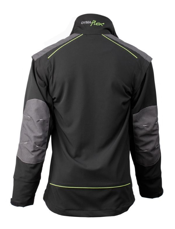 Rear view of Dymaflex Cut Resistant Jacket in black