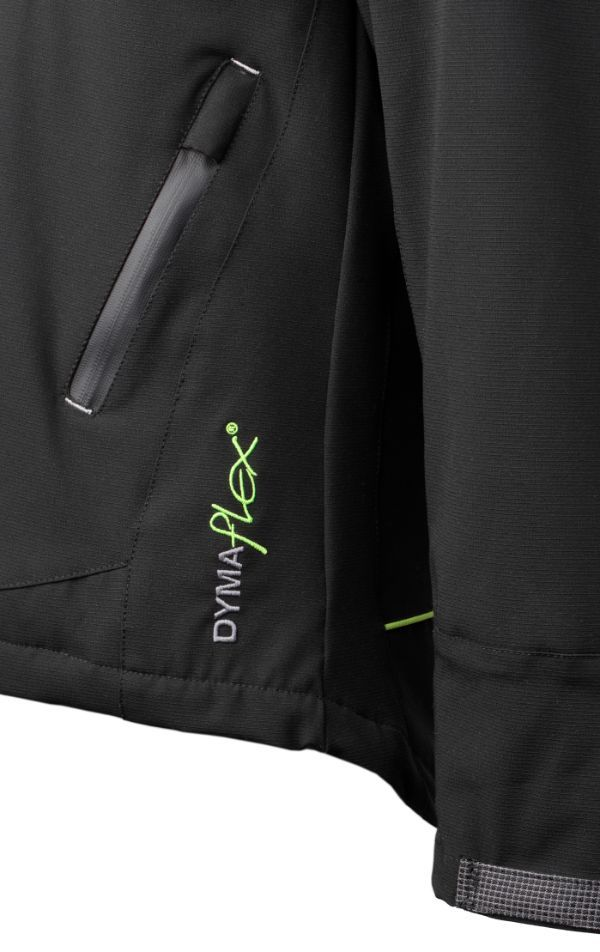 Zipped pocket of Dymaflex Cut Resistant Jacket in black