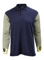 Cut Resistant Polo Shirt in Navy - Front View