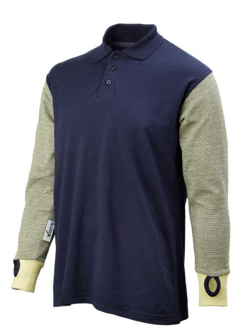Cut Resistant Polo Shirt in Navy - Side View