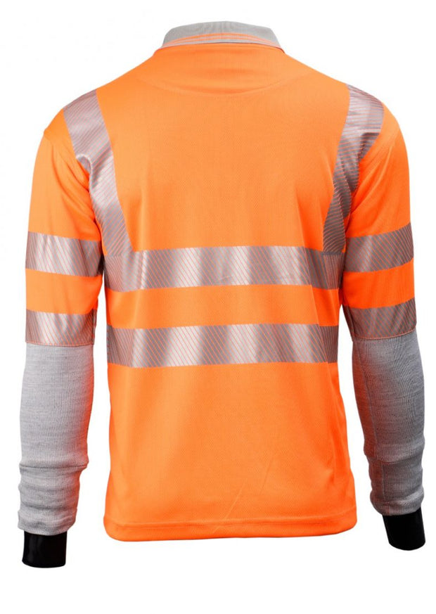 Rear view of Dymaflex Polo Shirt Hi-Vis Orange