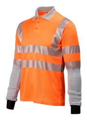 Side view of Dymaflex Polo Shirt Hi-Vis Orange