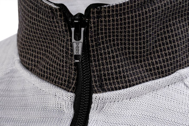 Zipped collar view of the cut resistant Dymaflex Sweatshirt