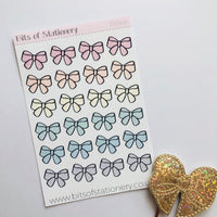 Pastel bows hand drawn planner stickers