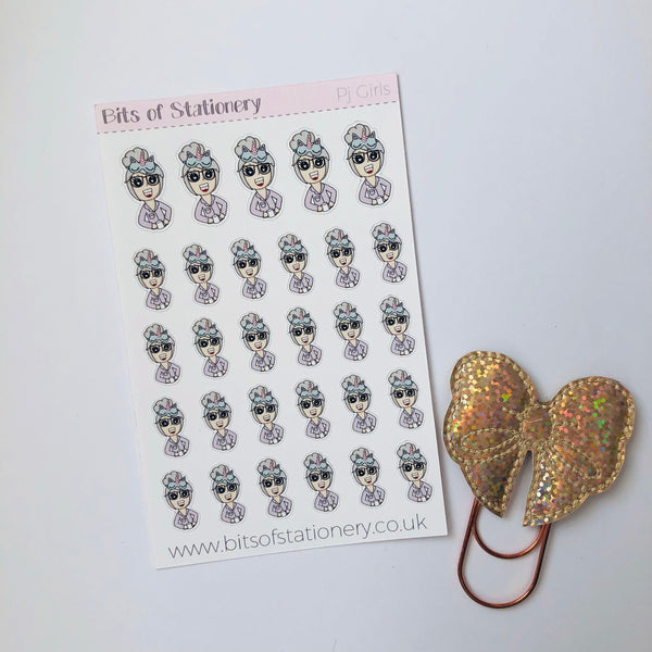 PJ girl planner stickers - choose your planner girl. Hand drawn
