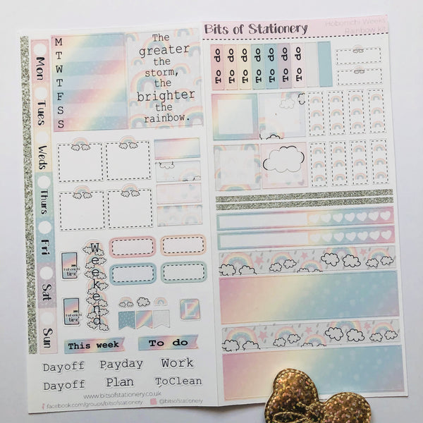 Rainbow hobonichi weeks kit hand drawn planner stickers