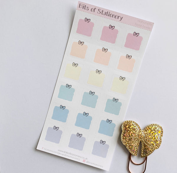 Hobonichi weeks hand drawn bow note box planner stickers