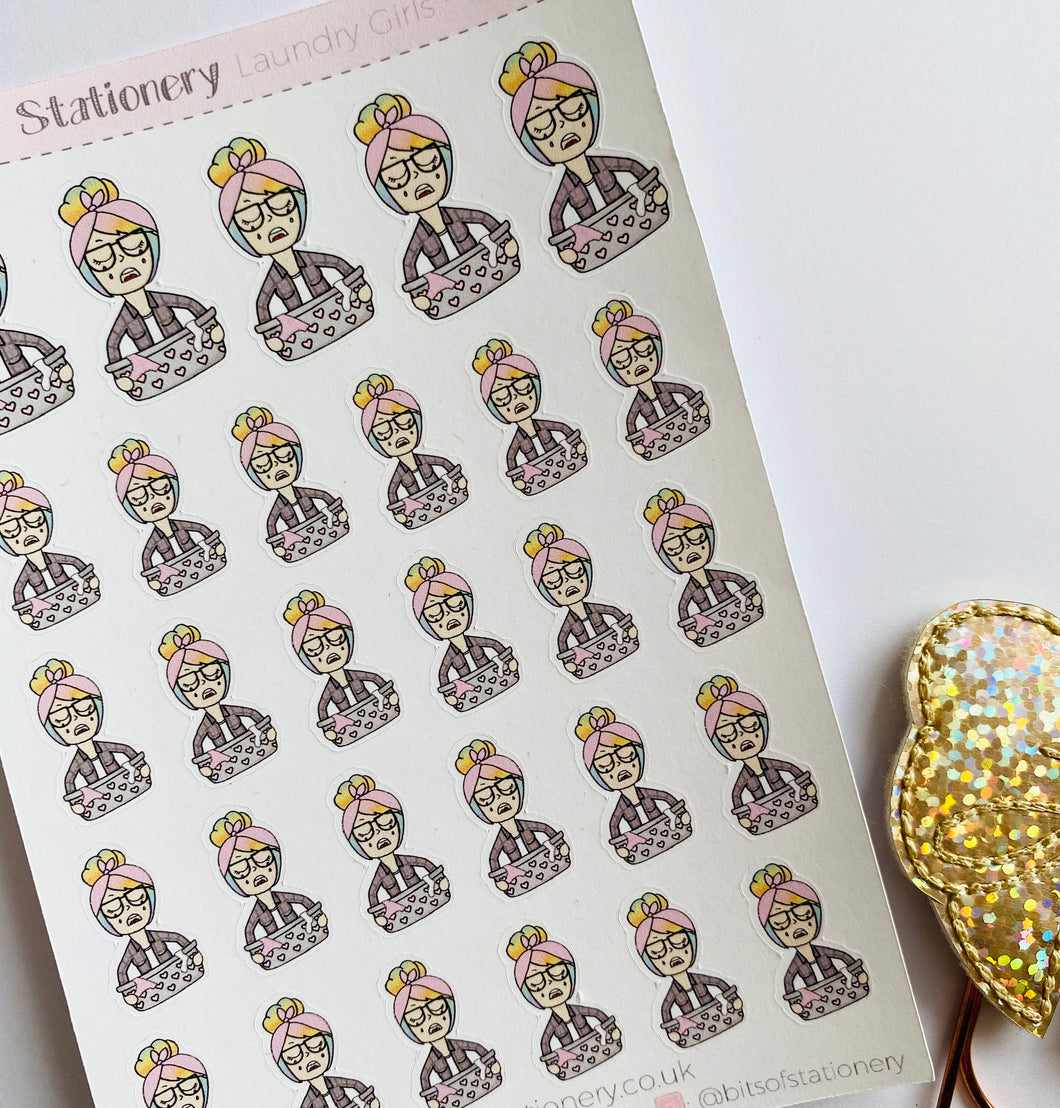 Laundry girl planner stickers hand drawn