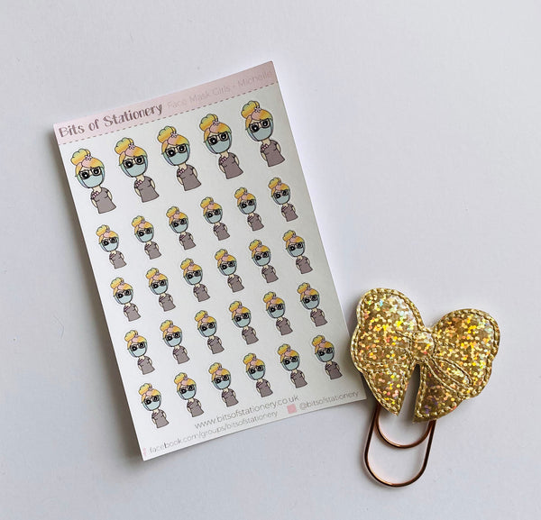 Face Mask girl planner stickers hand drawn
