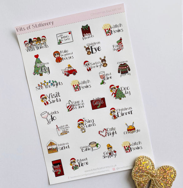 Christmas bucket list hand drawn planner stickers