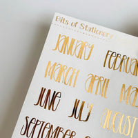 Foil Month planner stickers - choose colour