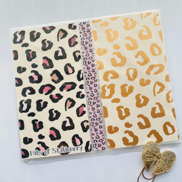 Leopard print foiled hobonichi weeks sticker storage folder