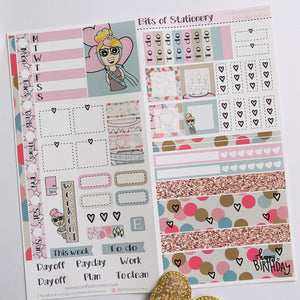 Birthday girl hobonichi weeks kit hand drawn planner stickers