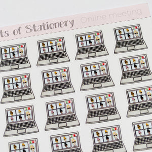 Online meeting planner stickers hand drawn