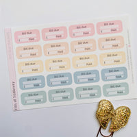 Bill due tracker planner stickers