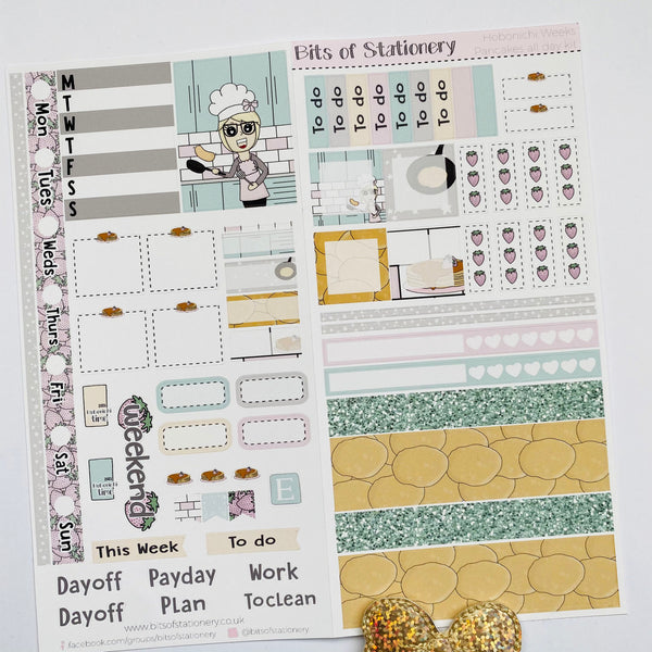 Pancakes all day hobonichi weeks kit hand drawn planner stickers