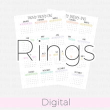 Load image into Gallery viewer, A5 Rings 2021-2022 Rainbow Calendars DIGITAL