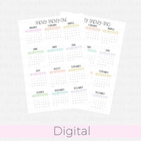 A5 Rings 2021-2022 Rainbow Calendars DIGITAL