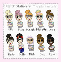 Social media wordpress girl planner stickers - choose your planner girl. Hand drawn
