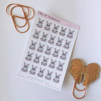 Hand drawn bunny rabbit stickers