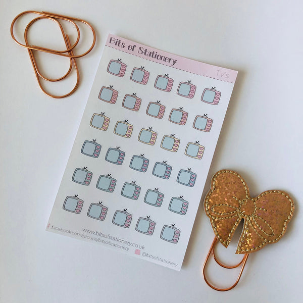 Hand drawn TV planner stickers