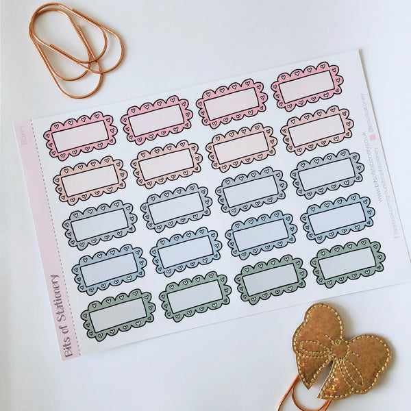 Doodle boxes hand drawn planner stickers