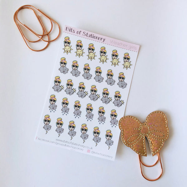 Weather girl planner stickers hand drawn