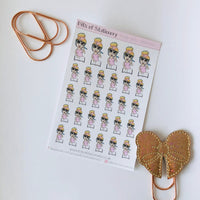 Study time girl planner stickers - choose your planner girl. Hand drawn