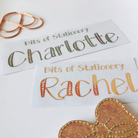 FOIL PERSONALISED name planner stickers - choose colour and font