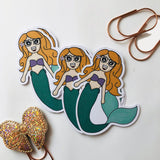 Mermaid girl planner girl hand drawn die cut