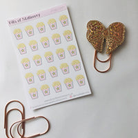 Popcorn planner stickers hand drawn