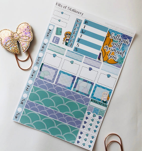 Mermaid girl hobonichi weeks kit hand drawn planner stickers