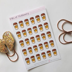 Autumn fall Coffee cup planner stickers