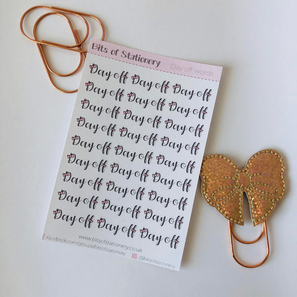 Day off word stickers - Bow collection